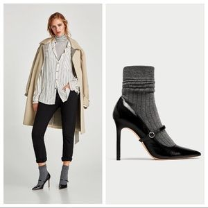 ZARA Sock Style High Heeled Court Shoes